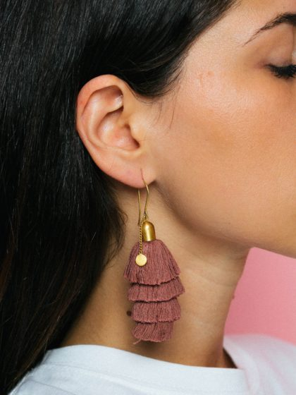 Pink Shooting Stars Earrings (Gold)